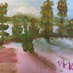Acrylic landscape painting with green trees and pink ground