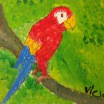 Acrylic painting of a blue and gold Macaw parrot on a green background