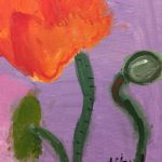 Acrylic painting of an orange poppy on a purple background