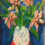 Acrylic painting of a white vase with pink flowers on a blue background