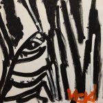 Acrylic painting of a closeup f a zebra's eye