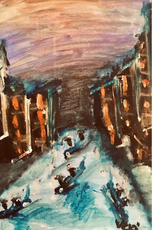 Vicki's acrylic painting of the Venice canals at night