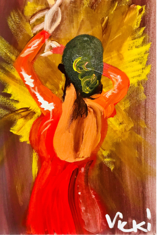 vicki's acrylic painting of a woman in a red dress